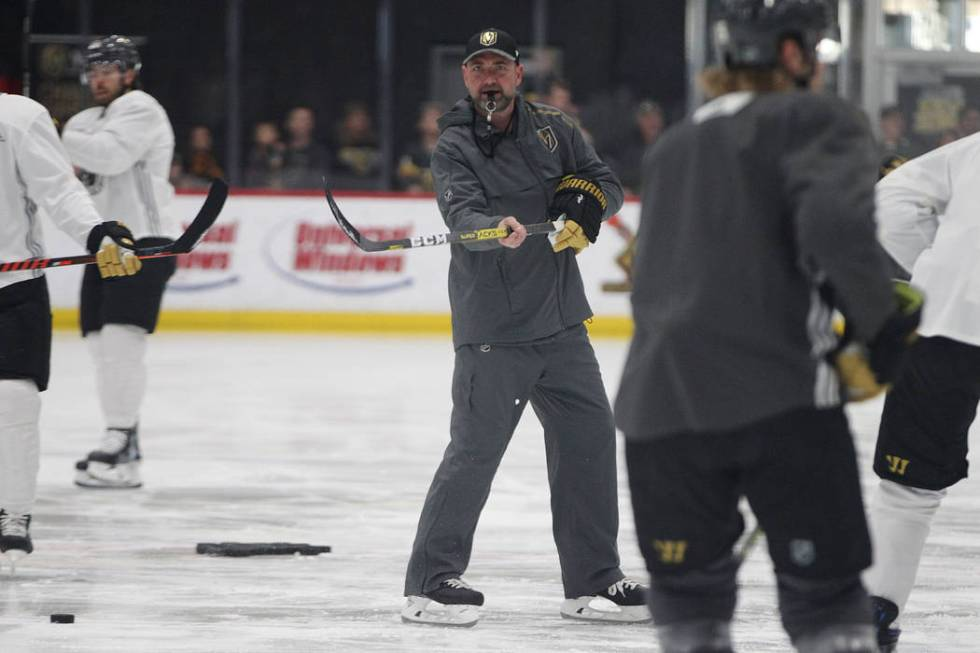 Vegas Golden Knights head coach Peter DeBoer during a team practice at City National Arena in L ...