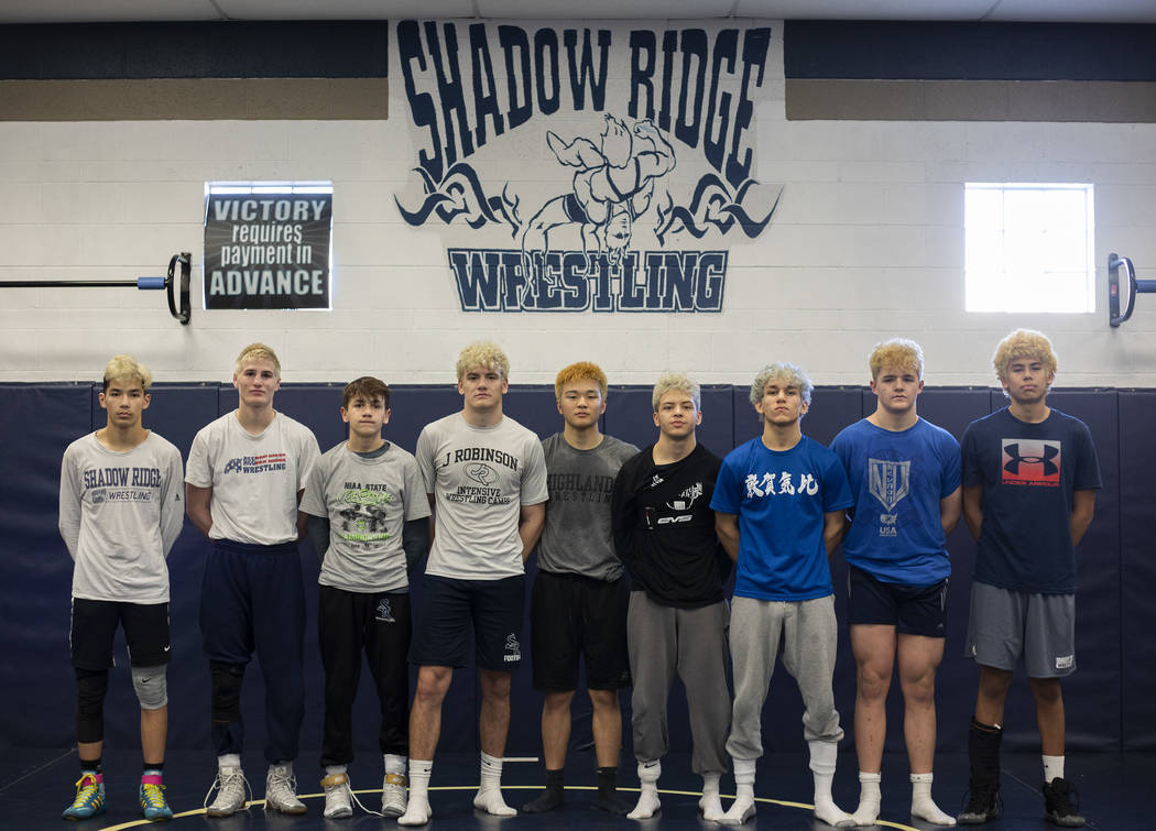 The nine wrestlers that will compete in the class 4A state championship from Shadow Ridge High ...