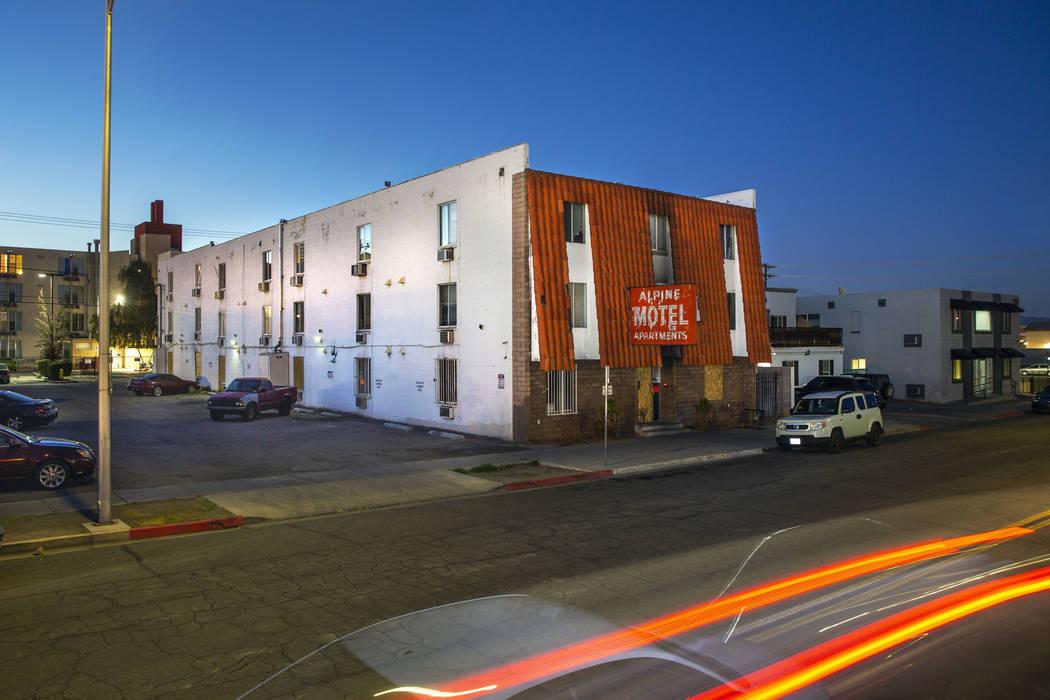 Alpine Motel Apartments is seen on Wednesday, Feb. 12, 2020, in Las Vegas. (L.E. Baskow/Las Veg ...
