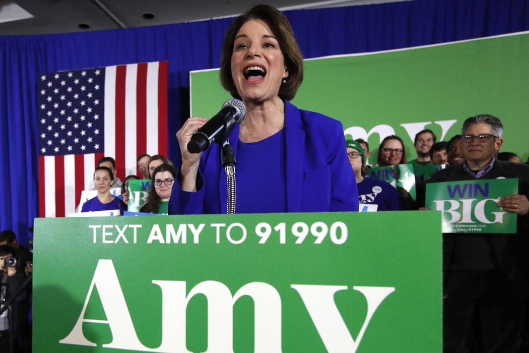 Democratic presidential candidate Sen. Amy Klobuchar, D-Minn., speaks at her election night par ...