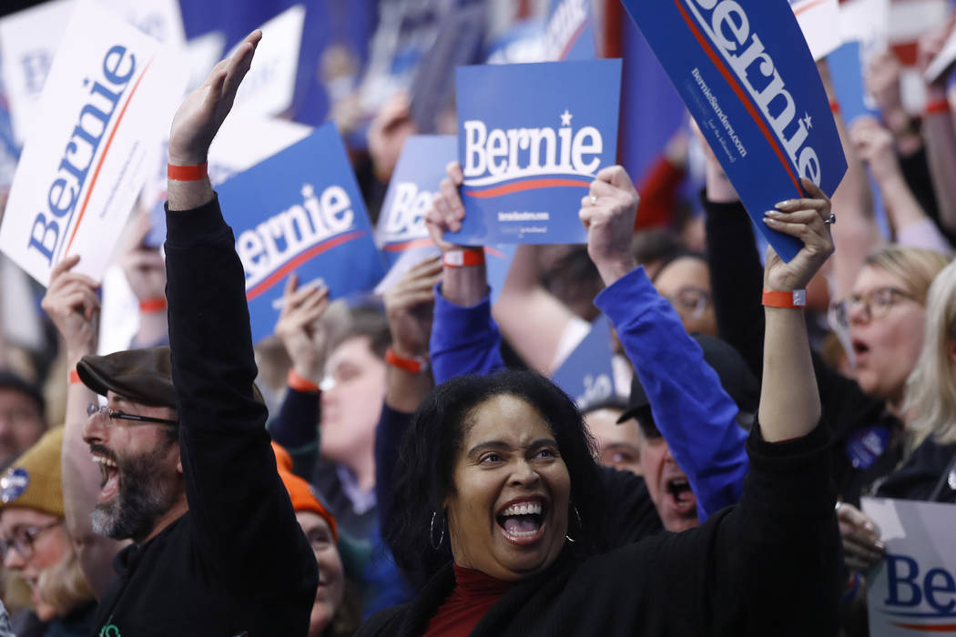 Supporters cheer at a primary night election rally for Democratic presidential candidate Sen. B ...