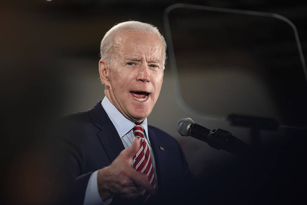 Democratic presidential contender Joe Biden speaks to supporters at an election rally on Tuesda ...
