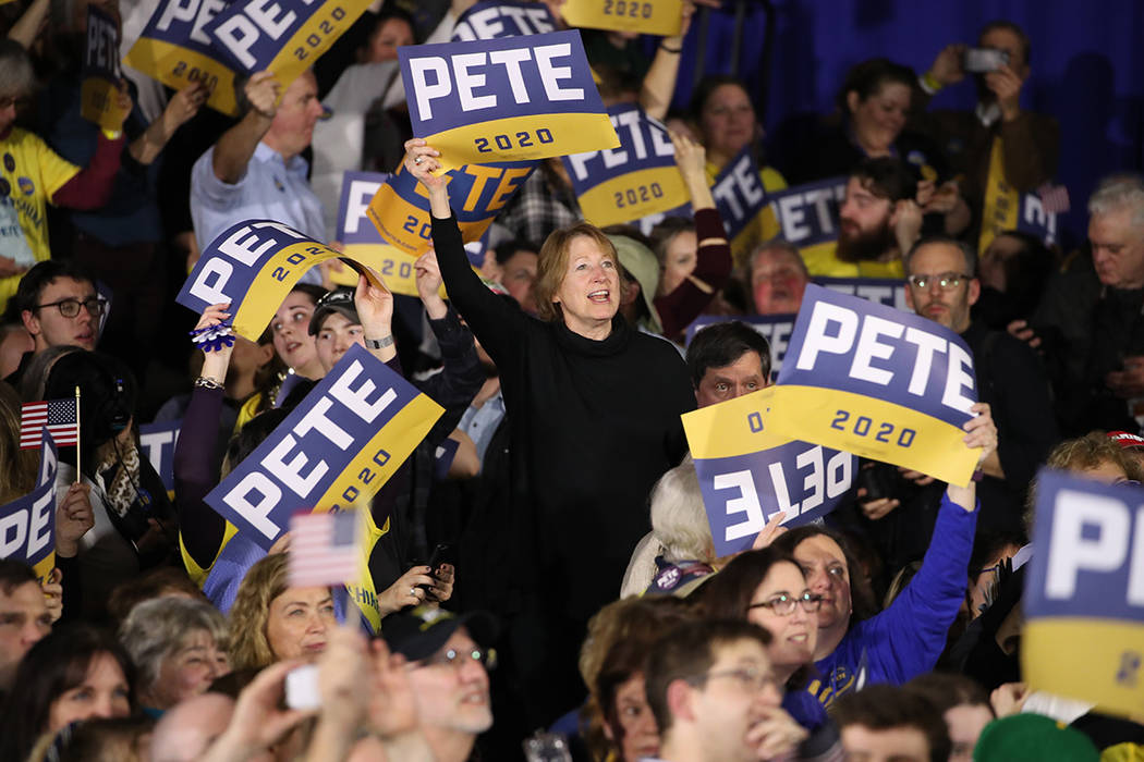Supporters of Democratic presidential candidate former South Bend, Ind., Mayor Pete Buttigieg c ...