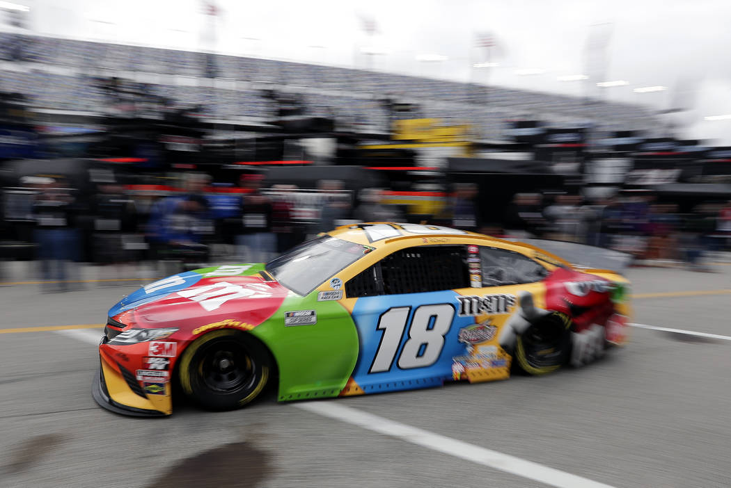 Kyle Busch heads to the track to practice for the NASCAR Daytona 500 auto race at Daytona Inter ...