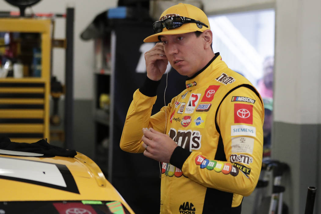 Kyle Busch prepares to go out on the track during practice for the NASCAR Daytona 500 auto race ...