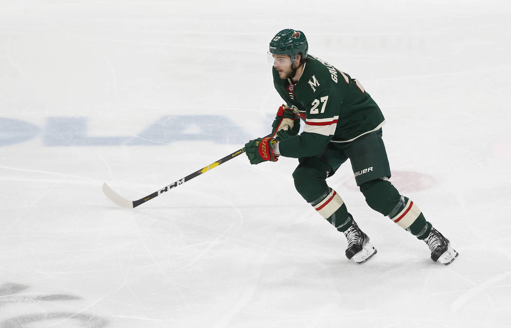 Minnesota Wild's Alex Galchenyuk makes his Wild debut against the Vegas Golden Knights in an NH ...