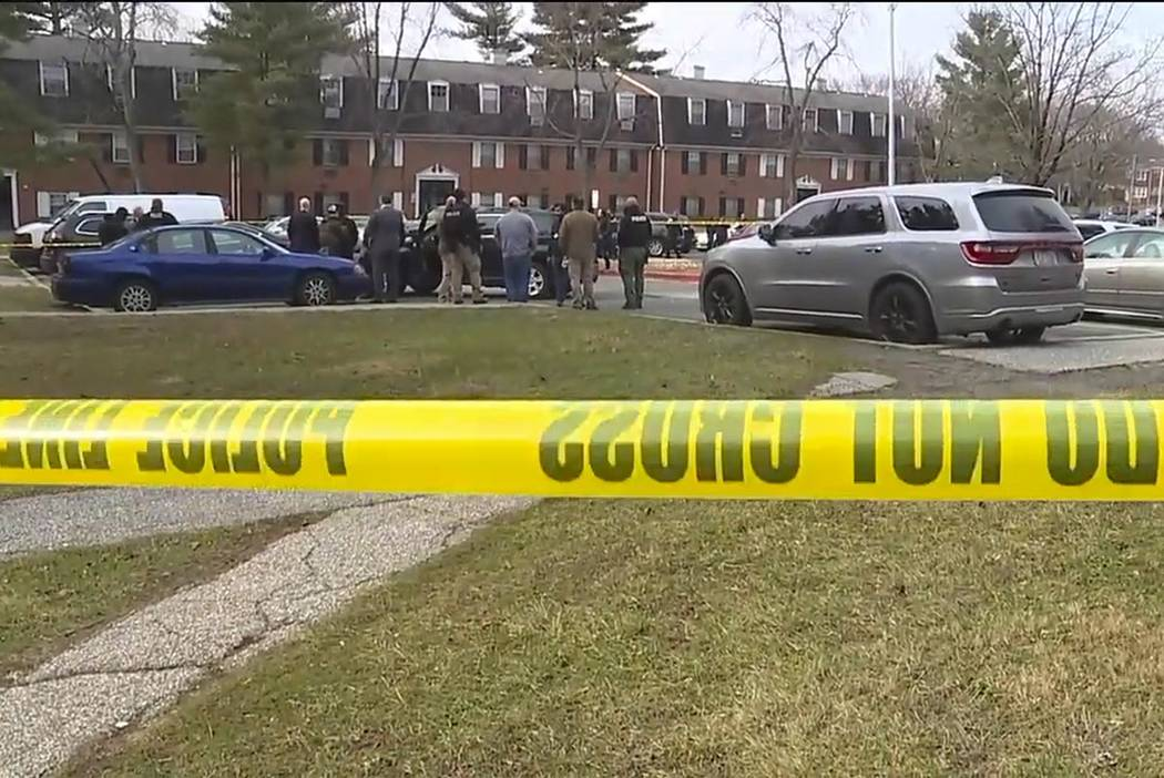 An image provided by WMAR-2 News shows emergency and law enforcement officials responding to th ...