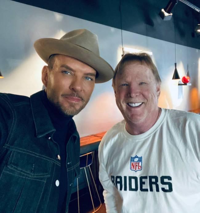 Vegas showman Matt Goss, left, and Las Vegas Raiders owner Mark Davis are shown at JetSuiteX in ...