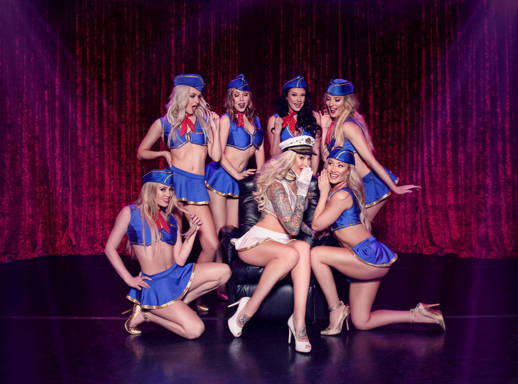 """Sabina Kelley, shown with the cast of """"X Burlesque,"""" is in the Flamingo revue on Friday and Sat ..."""
