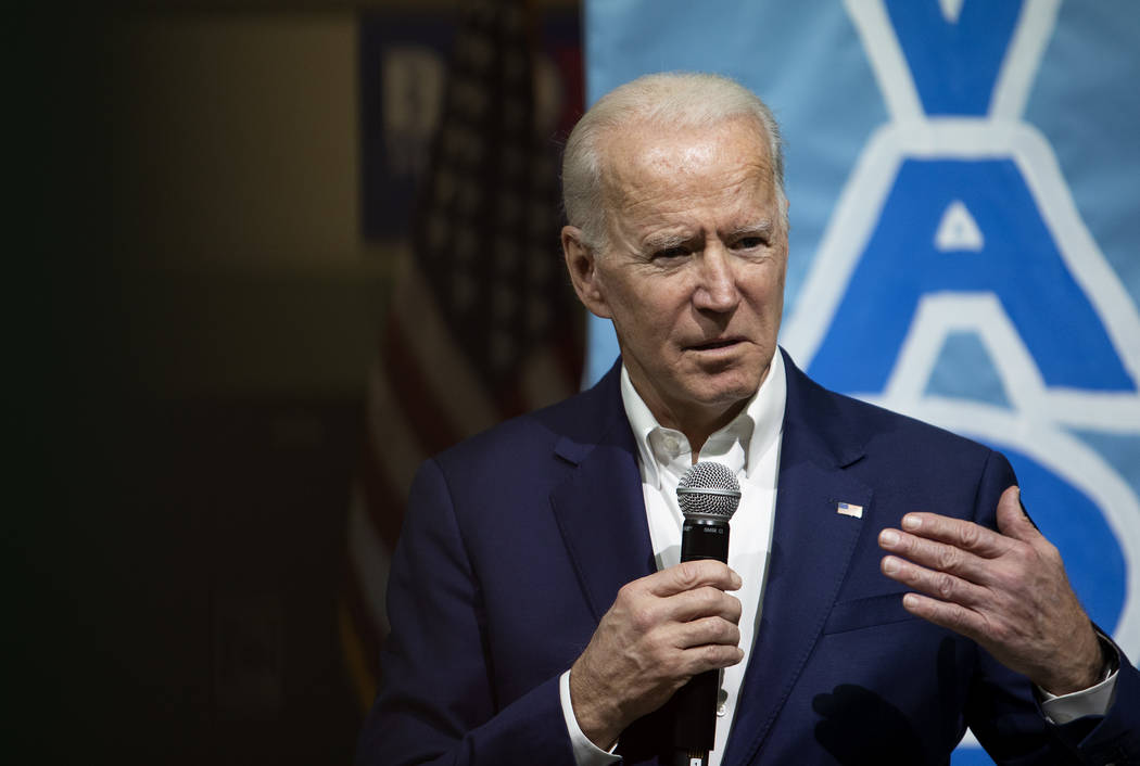 Presidential candidate Joe Biden speaks at a campaign event at Rancho High School on Saturday, ...