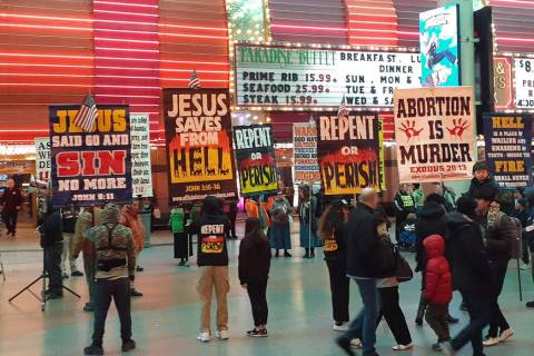 A message for the masses Sunday, Dec. 29, 2019, on the Fremont Street Experience in Las Vegas. ...