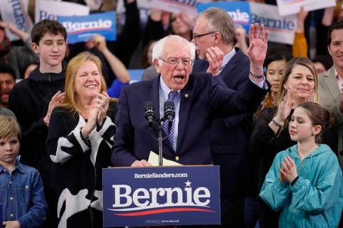 Democratic presidential candidate Sen. Bernie Sanders, I-Vt., speaks to supporters at a primary ...