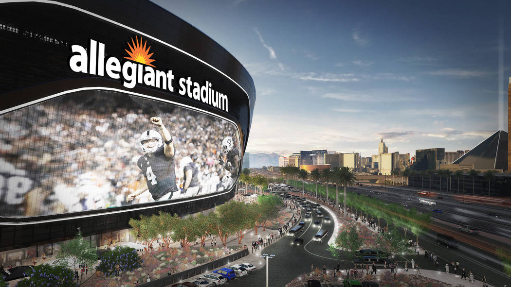 Plans submitted to Clark County, dated July 29, 2019, show a video screen is planned to be 80 f ...