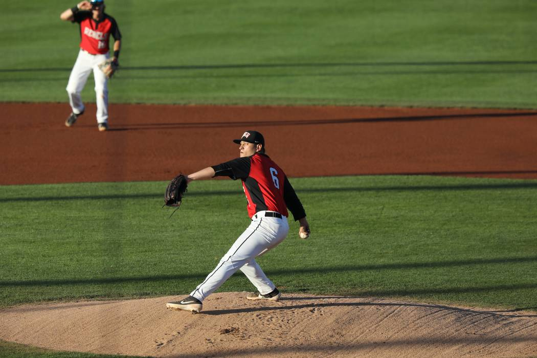 UNLV senior pitcher Ryan Hare in action against New Mexico on March 30, 2019, at Wilson Stadium ...