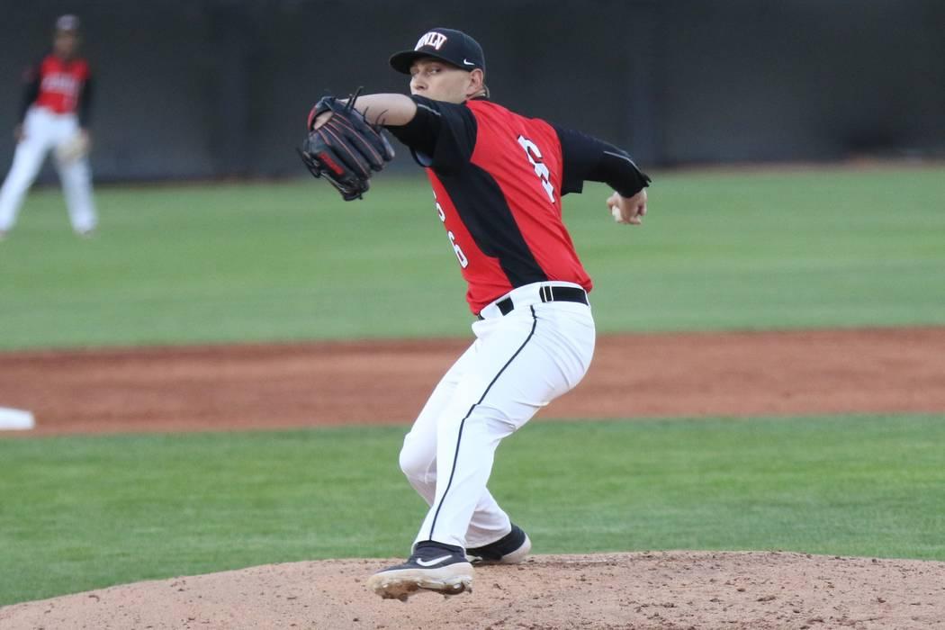 UNLV senior pitcher Ryan Hare in action against UNR on March 23, 2019, at Wilson Stadium. (UNLV ...
