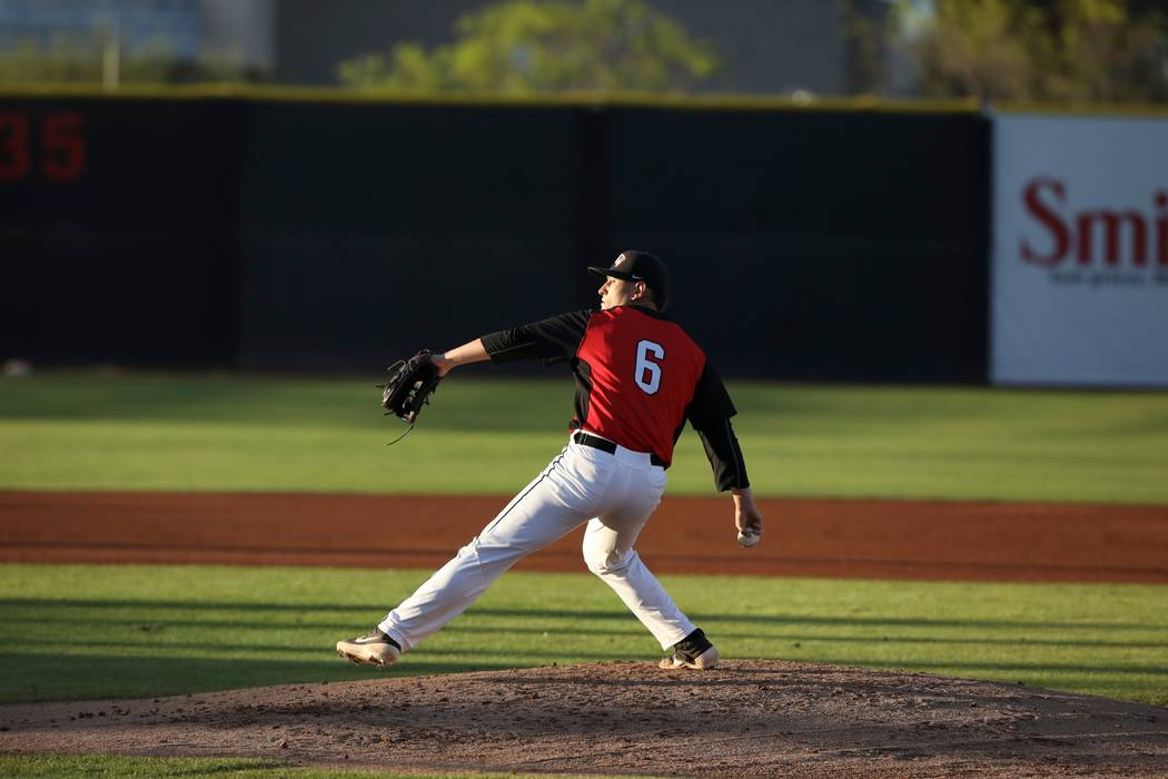 UNLV senior pitcher Ryan Hare in action against San Jose State on April 13, 2019, at Wilson Sta ...