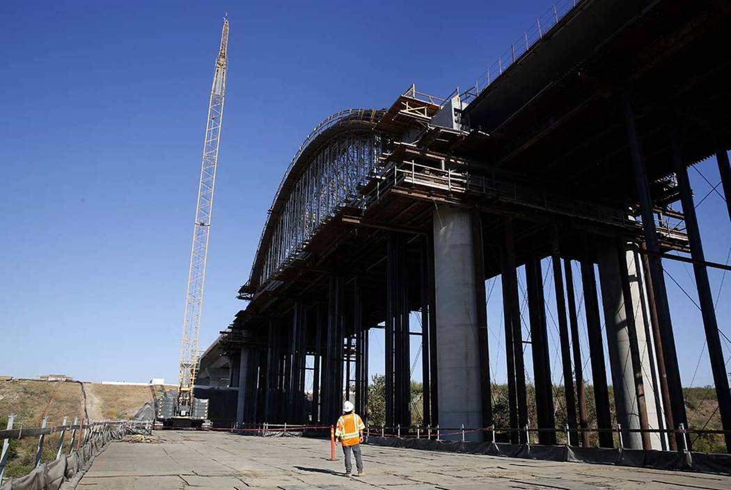 The high speed rail viaduct is seen under construction over the San Joaquin River near Fresno, ...
