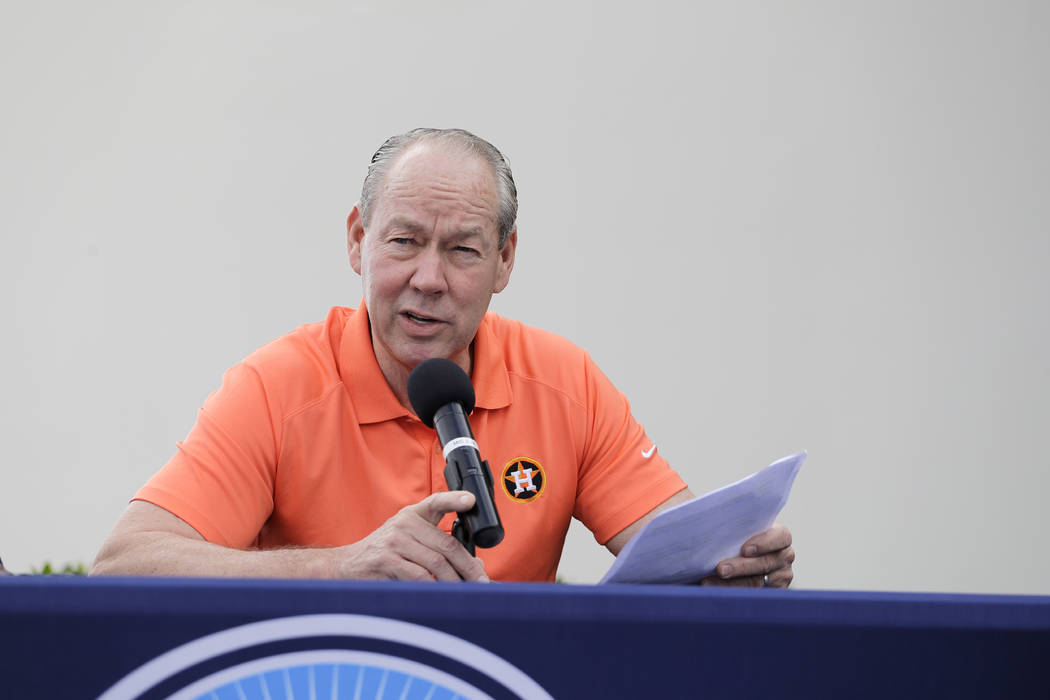 Houston Astros owner Jim Crane speaks during a news conference before the start of the first of ...