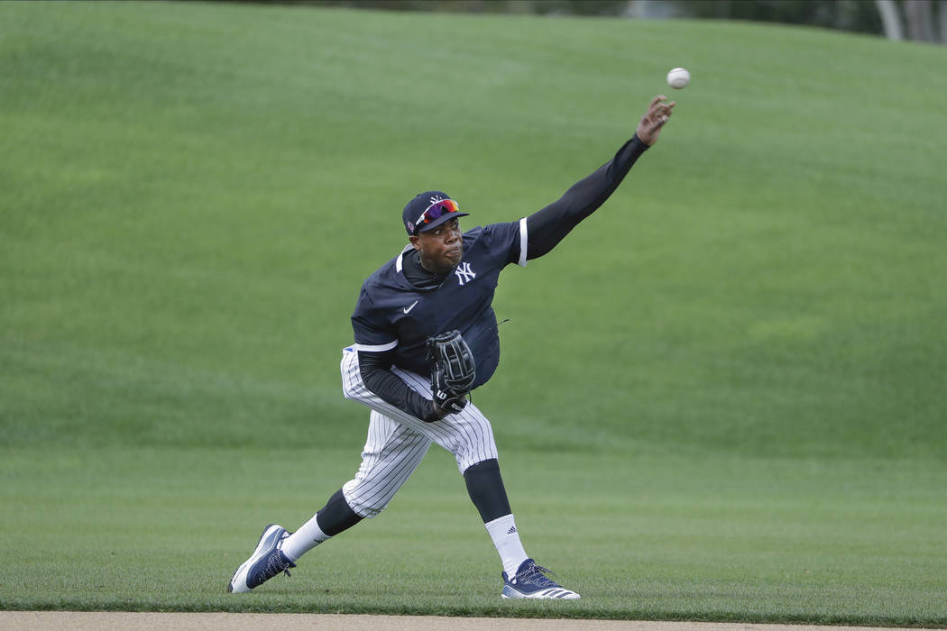 New York Yankees' Aroldis Chapman during a spring training baseball workout Thursday, Feb. 13, ...