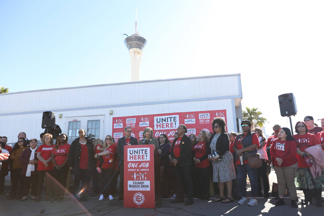 Culinary Union Local 226 holds a news conference in Las Vegas, Thursday, Feb.13, 2020, to annou ...