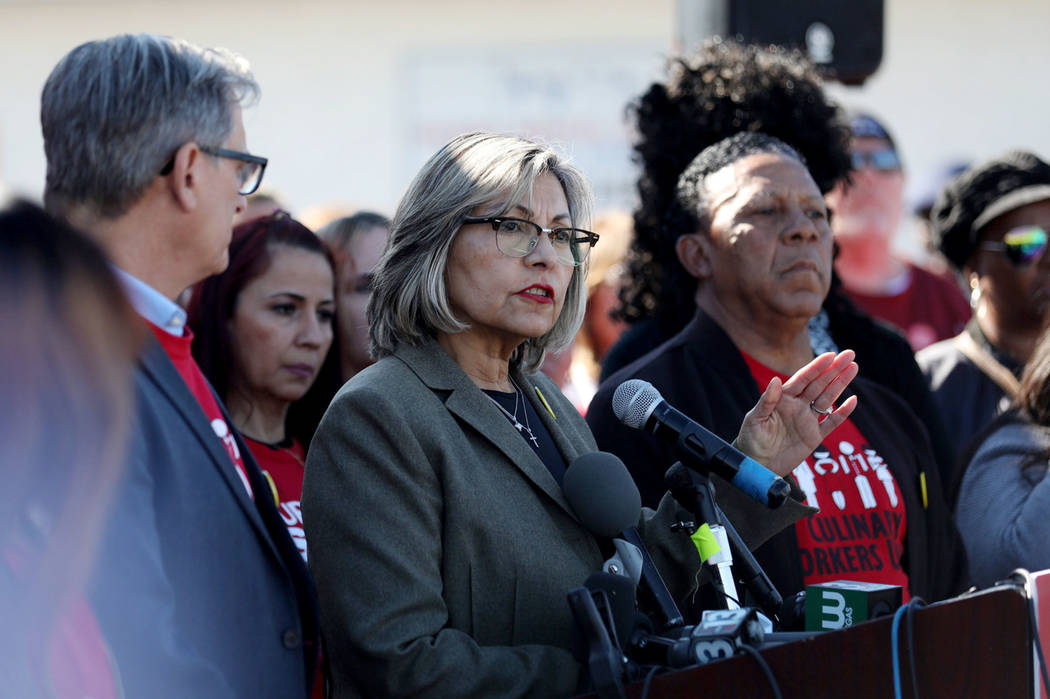 Culinary Union Secretary-Treasurer Geoconda Arguello-Kline speaks during a news conference in L ...