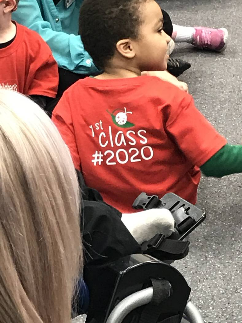 Preschoolers participate in a music therapy session Feb. 12 at the Nevada Blind Children's Fo ...