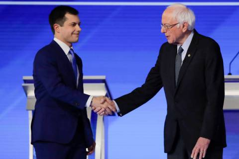 Democratic presidential candidates former South Bend Mayor Pete Buttigieg and Sen. Bernie Sande ...