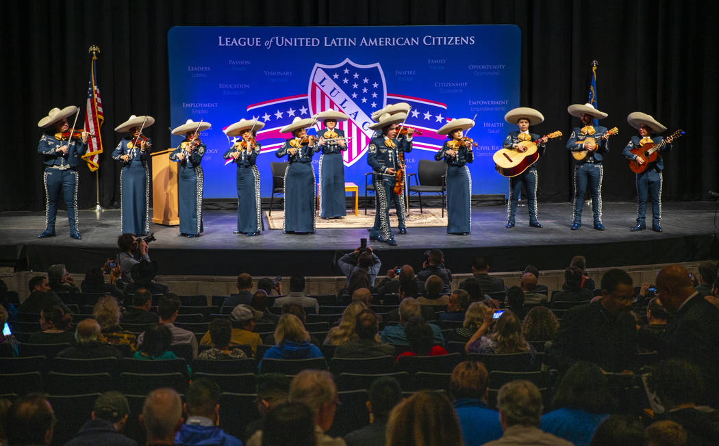 A mariachi band plays for attendees before the start of the LULAC Presidential Town Hall Nevada ...