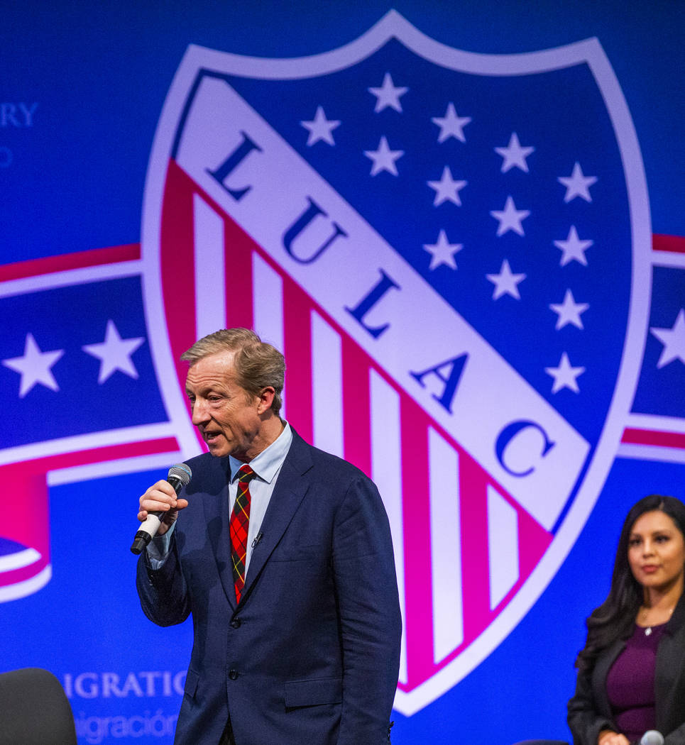 Businessman Tom Steyer speaks to the audience during the League of United Latin American Citize ...