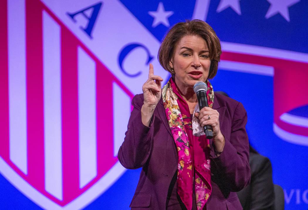 Sen. Amy Klobuchar, D-Minn., speaks during the League of United Latin American Citizens Preside ...