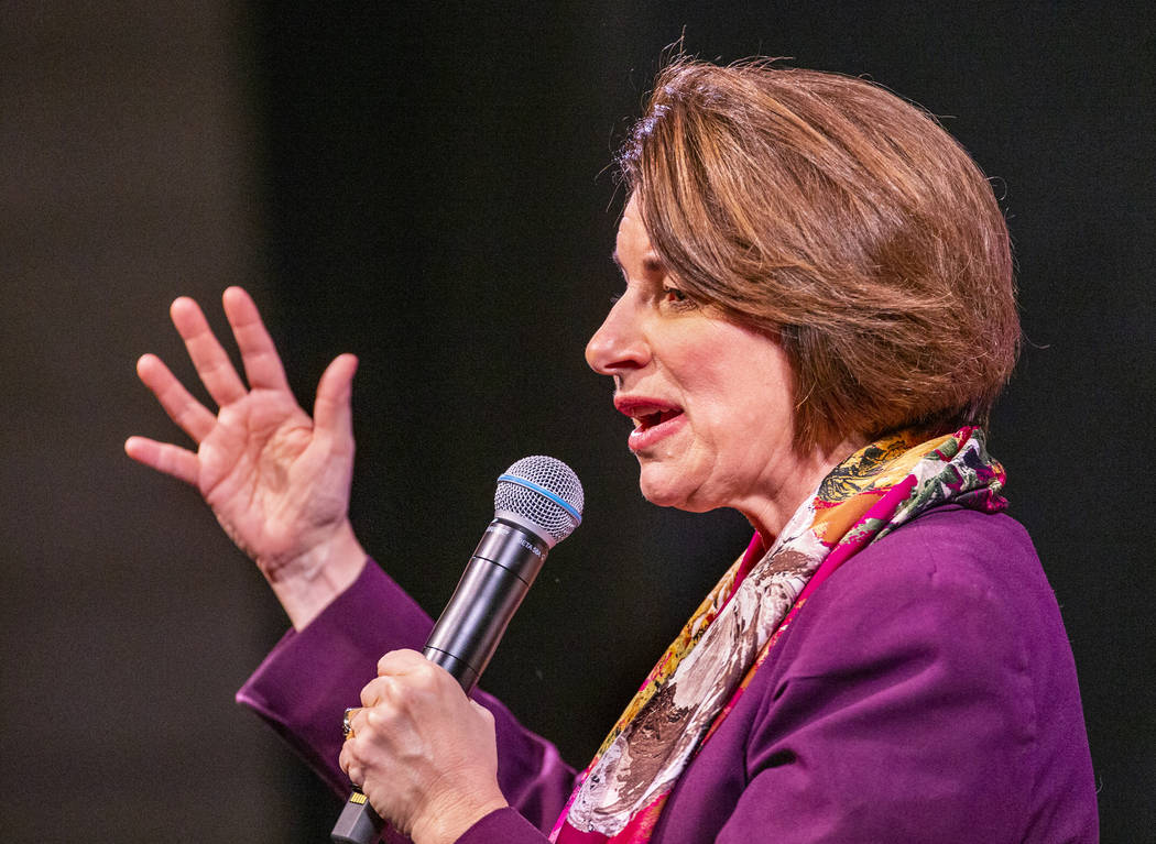 Sen. Amy Klobuchar, D-Minn., answers questions from the audience during the League of United La ...