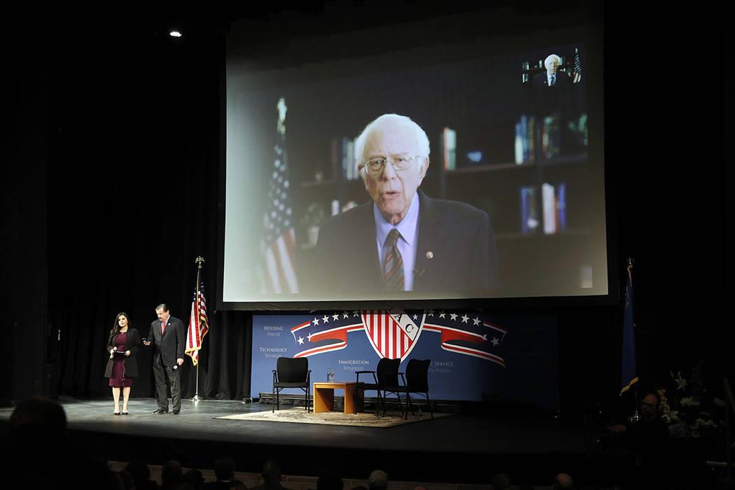 Democratic presidential candidate Sen. Bernie Sanders, I-Vt., speaks via teleconference to the ...