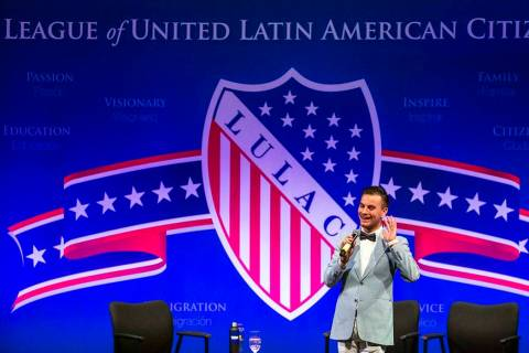 Joel Lehi for the League of United Latin American Citizens speaks during the opening of the Pre ...