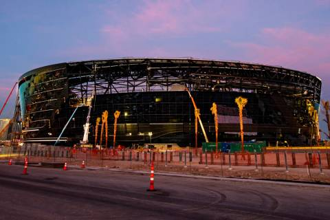 Construction continues at Allegiant Stadium in Las Vegas on Wednesday, Feb. 5, 2020. (Chase Ste ...
