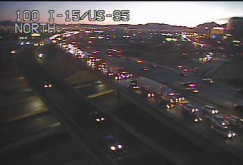 Traffic slows on Interstate 15 north of Sahara Avenue on Friday, Feb. 14, 2020. (FAST Cameras)