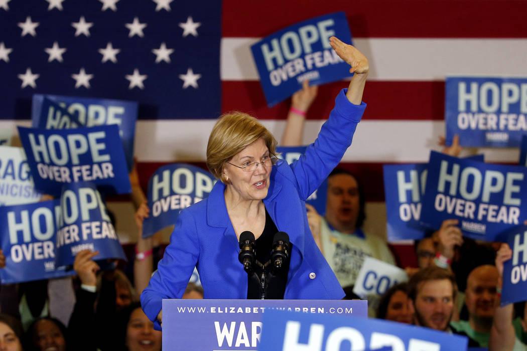 Democratic presidential candidate Sen. Elizabeth Warren, D-Mass., speaks to supporters at a cau ...