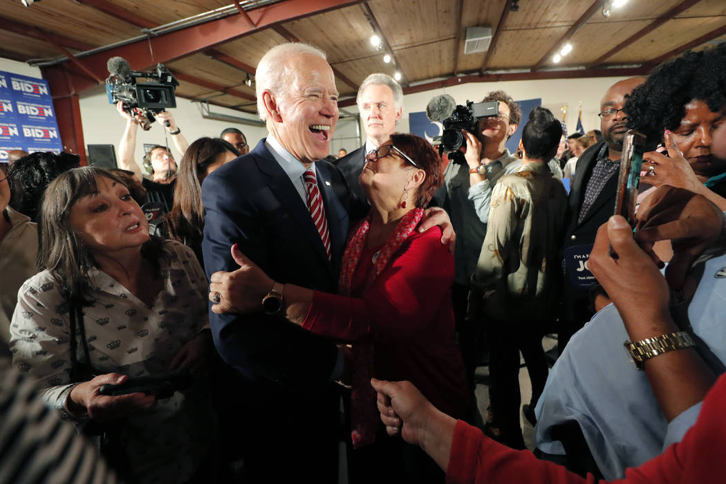 Democratic presidential candidate, former Vice President Joe Biden, greets supporters at a camp ...
