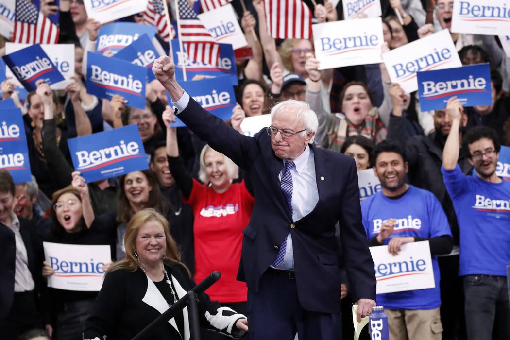 Democratic presidential candidate Sen. Bernie Sanders, I-Vt., with his wife, Jane O'Meara Sande ...