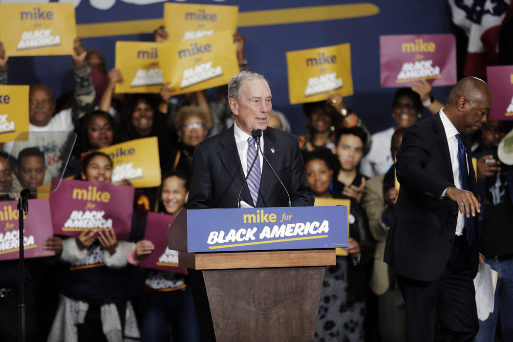 Democratic presidential candidate and former New York City Mayor Michael Bloomberg speaks durin ...