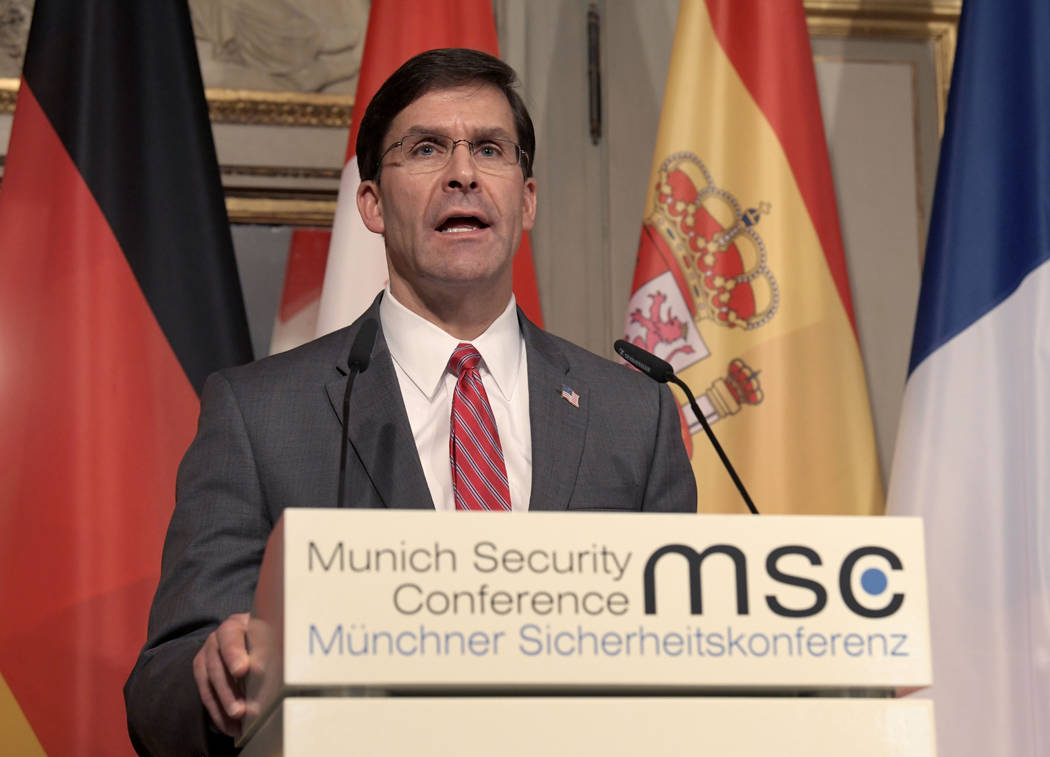 U.S. Secretary for Defense Mark Esper speaks during a press conference on the first day of the ...
