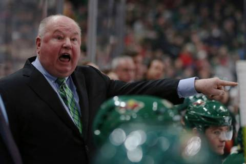 Minnesota Wild's head coach Bruce Boudreau shouts after a penalty call in the second period of ...