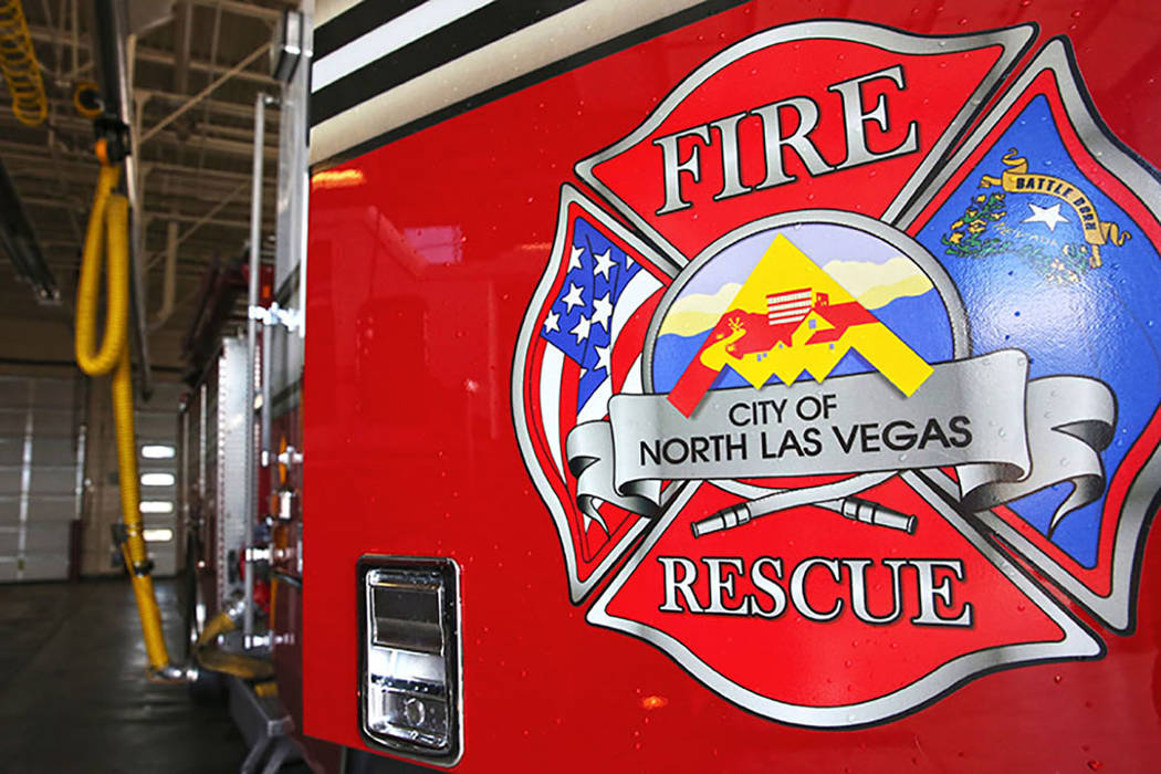 The primary fire engine at the North Las Vegas Fire Department Station 53, 2804 West Gowan Road ...