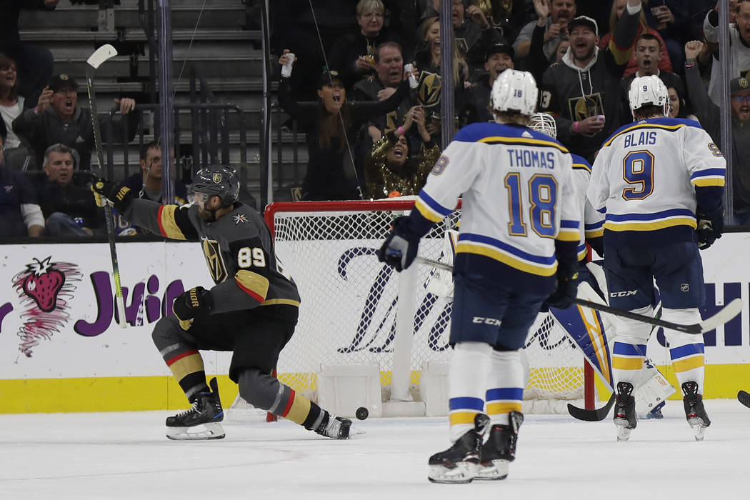 Vegas Golden Knights right wing Alex Tuch (89) celebrates after scoring against the St. Louis B ...