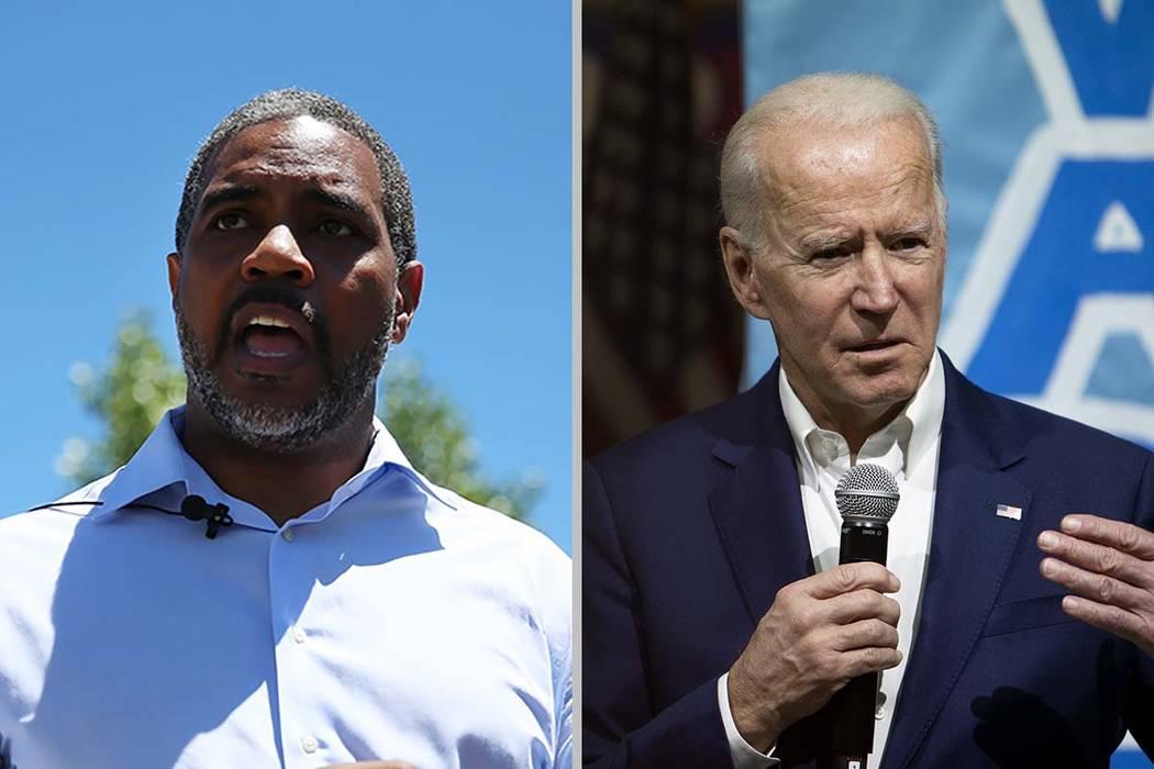 Rep. Steven Horsford, left, endorsed former Vice President Joe Biden's bid for the Democratic ...