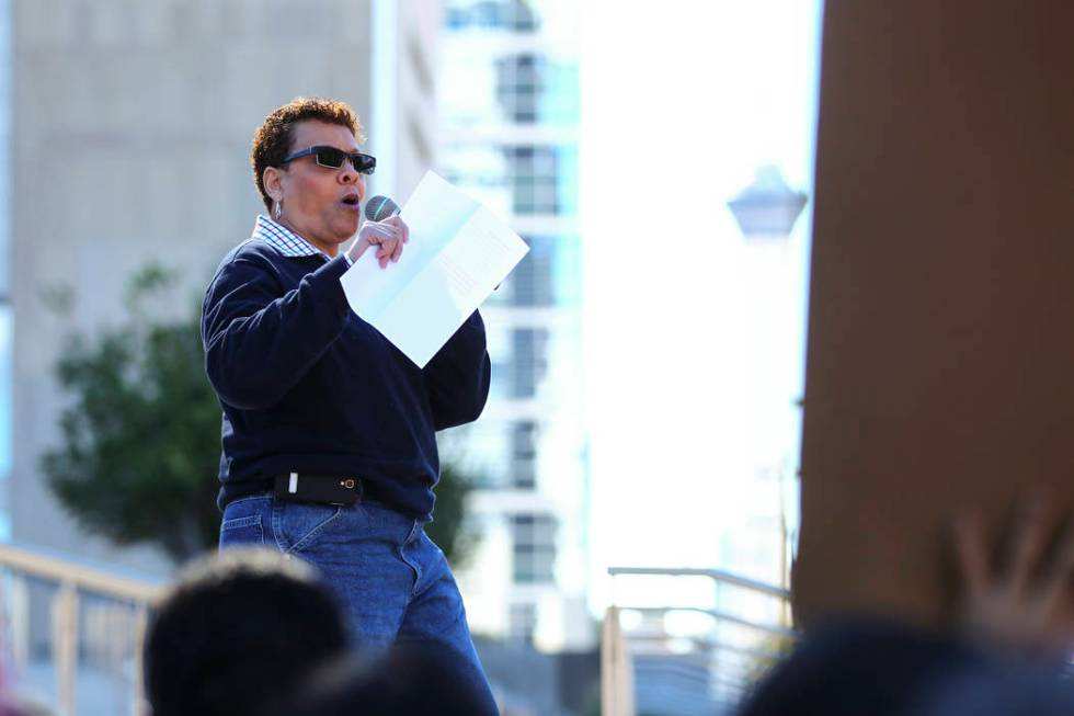 Nevada state Sen. Pat Spearman, D-North Las Vegas, speaks as supporters of women's rights gathe ...