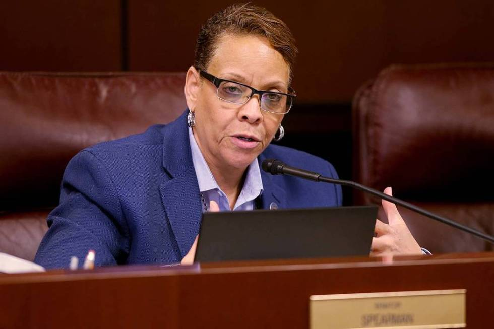 Nevada state Sen. Pat Spearman, D-North Las Vegas, asks a question during a Health and Human Se ...