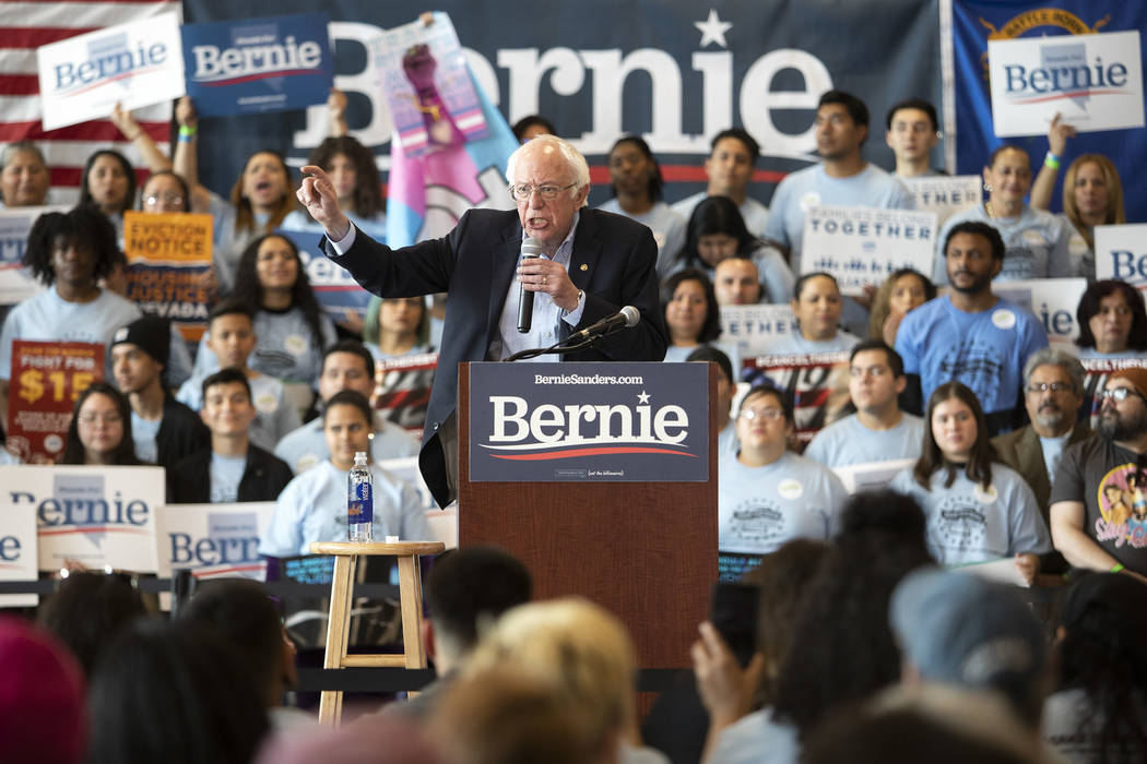 Sen. Bernie Sanders speaks during the Get Out the Early Vote Rally ahead of the Nevada caucus a ...