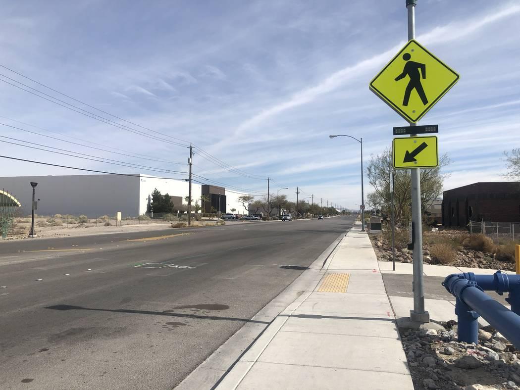 The crosswalk where two children were hit by a truck on Friday, Feb. 14, 2020. (Katelyn Newberg ...