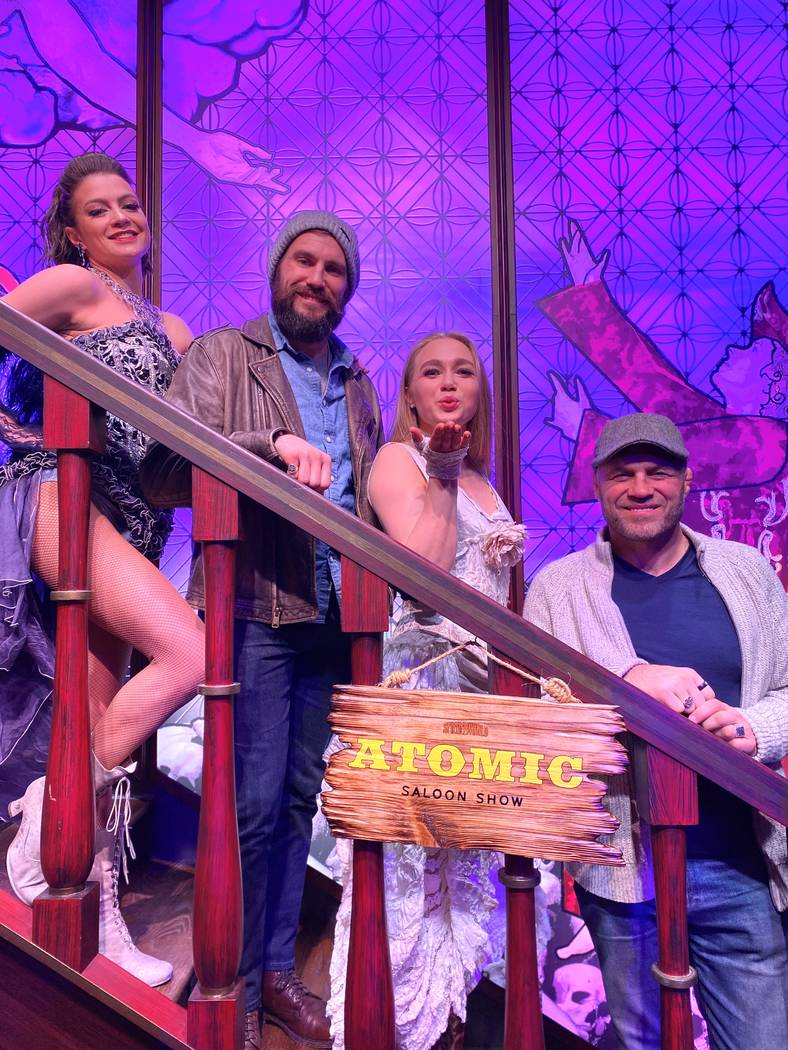 "Randy Couture, far right, and his son, Ryan, are shown at the ""Atomic Saloon Show"" on Valentine ..."