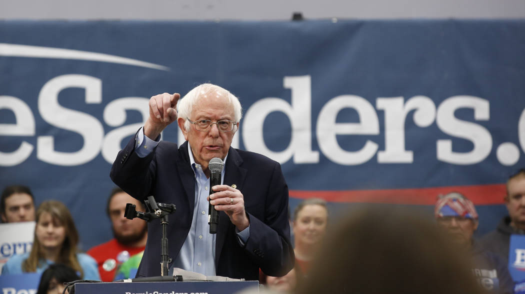 Democratic presidential candidate Sen. Bernie Sanders I-Vt., speaks at a campaign event in Cars ...